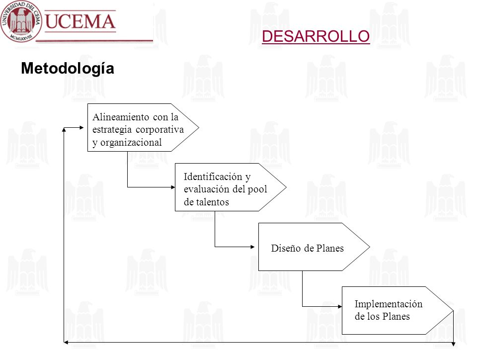 DESARROLLO Metodología Alineamiento con la estrategia corporativa y organizacional Identificación y evaluación del pool de talentos Diseño de Planes I