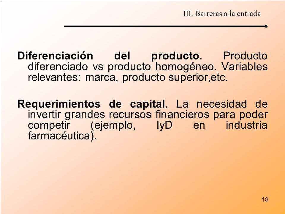 10 Diferenciación del producto. Producto diferenciado vs producto homogéneo. Variables relevantes: marca, producto superior,etc. Requerimientos de cap