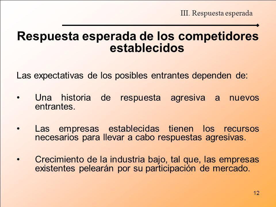 12 Respuesta esperada de los competidores establecidos Las expectativas de los posibles entrantes dependen de: Una historia de respuesta agresiva a nu