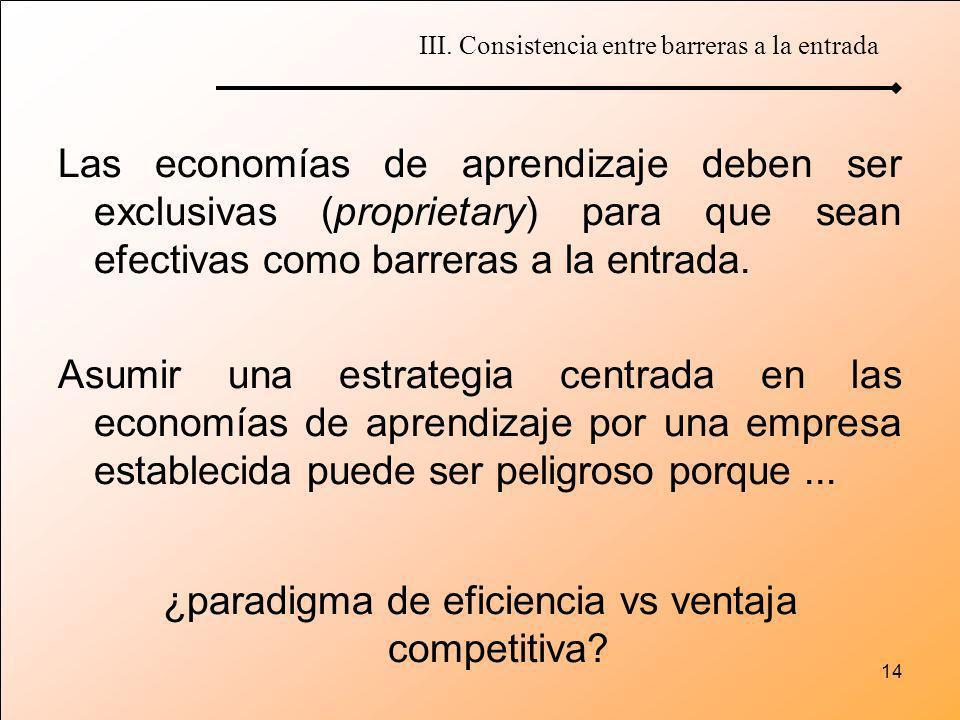 14 Las economías de aprendizaje deben ser exclusivas (proprietary) para que sean efectivas como barreras a la entrada. Asumir una estrategia centrada