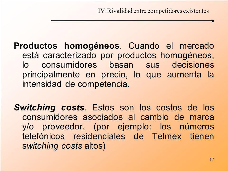 17 Productos homogéneos. Cuando el mercado está caracterizado por productos homogéneos, lo consumidores basan sus decisiones principalmente en precio,
