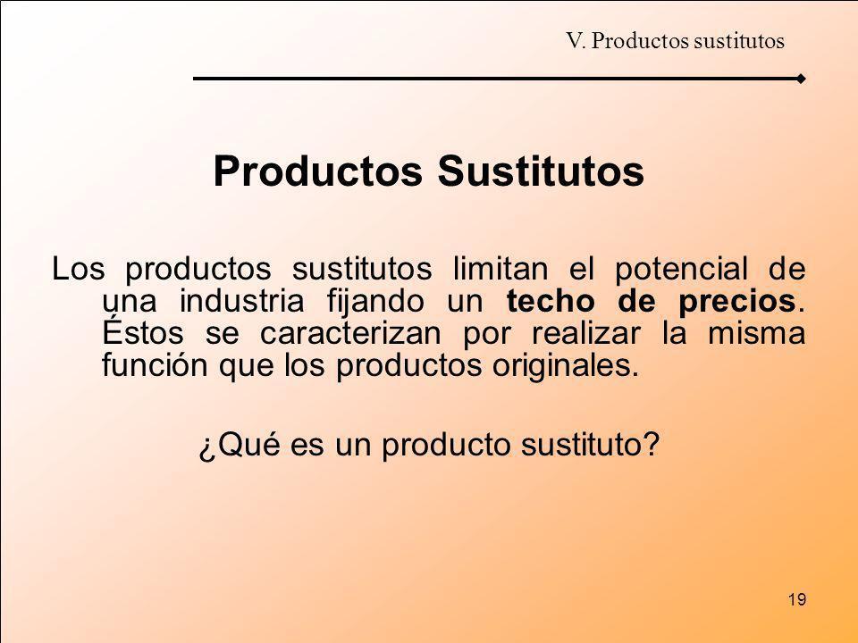 19 Productos Sustitutos Los productos sustitutos limitan el potencial de una industria fijando un techo de precios. Éstos se caracterizan por realizar