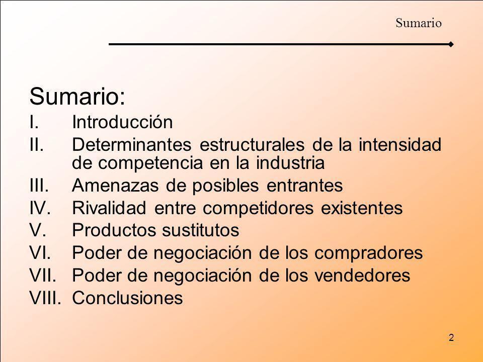 2 Sumario: I.Introducción II.Determinantes estructurales de la intensidad de competencia en la industria III.Amenazas de posibles entrantes IV.Rivalid