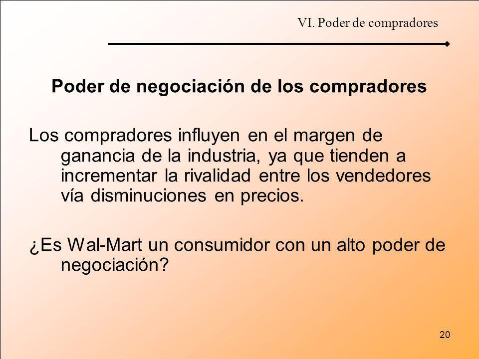 20 Poder de negociación de los compradores Los compradores influyen en el margen de ganancia de la industria, ya que tienden a incrementar la rivalida