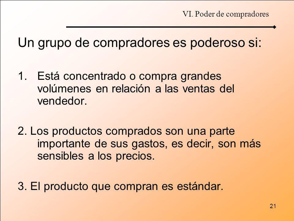 21 Un grupo de compradores es poderoso si: 1.Está concentrado o compra grandes volúmenes en relación a las ventas del vendedor. 2. Los productos compr