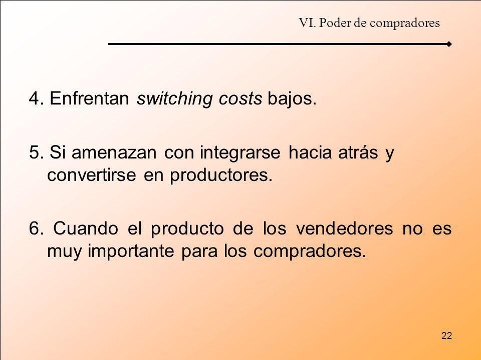22 4. Enfrentan switching costs bajos. 5. Si amenazan con integrarse hacia atrás y convertirse en productores. 6. Cuando el producto de los vendedores