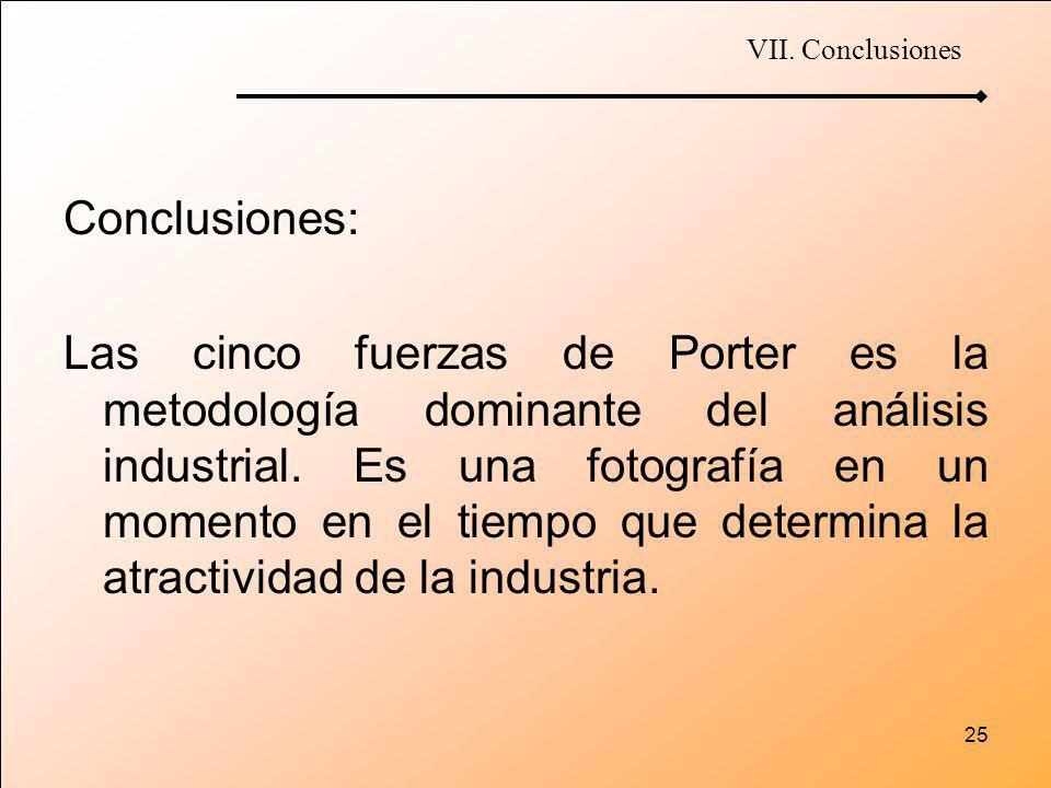 25 Conclusiones: Las cinco fuerzas de Porter es la metodología dominante del análisis industrial. Es una fotografía en un momento en el tiempo que det