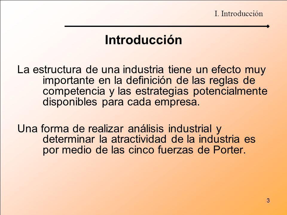 3 Introducción La estructura de una industria tiene un efecto muy importante en la definición de las reglas de competencia y las estrategias potencial