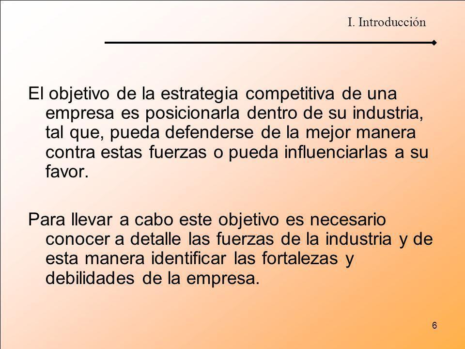 6 El objetivo de la estrategia competitiva de una empresa es posicionarla dentro de su industria, tal que, pueda defenderse de la mejor manera contra