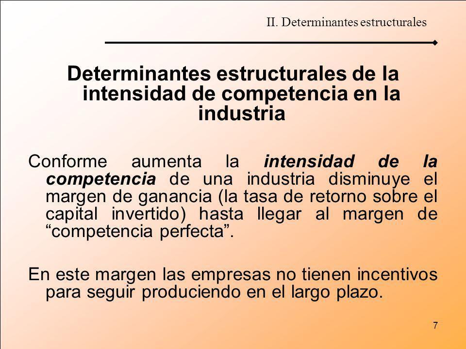 7 Determinantes estructurales de la intensidad de competencia en la industria Conforme aumenta la intensidad de la competencia de una industria dismin
