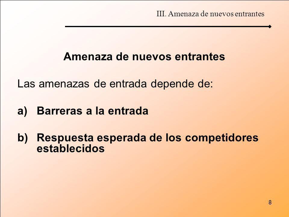 8 Amenaza de nuevos entrantes Las amenazas de entrada depende de: a)Barreras a la entrada b)Respuesta esperada de los competidores establecidos III. A