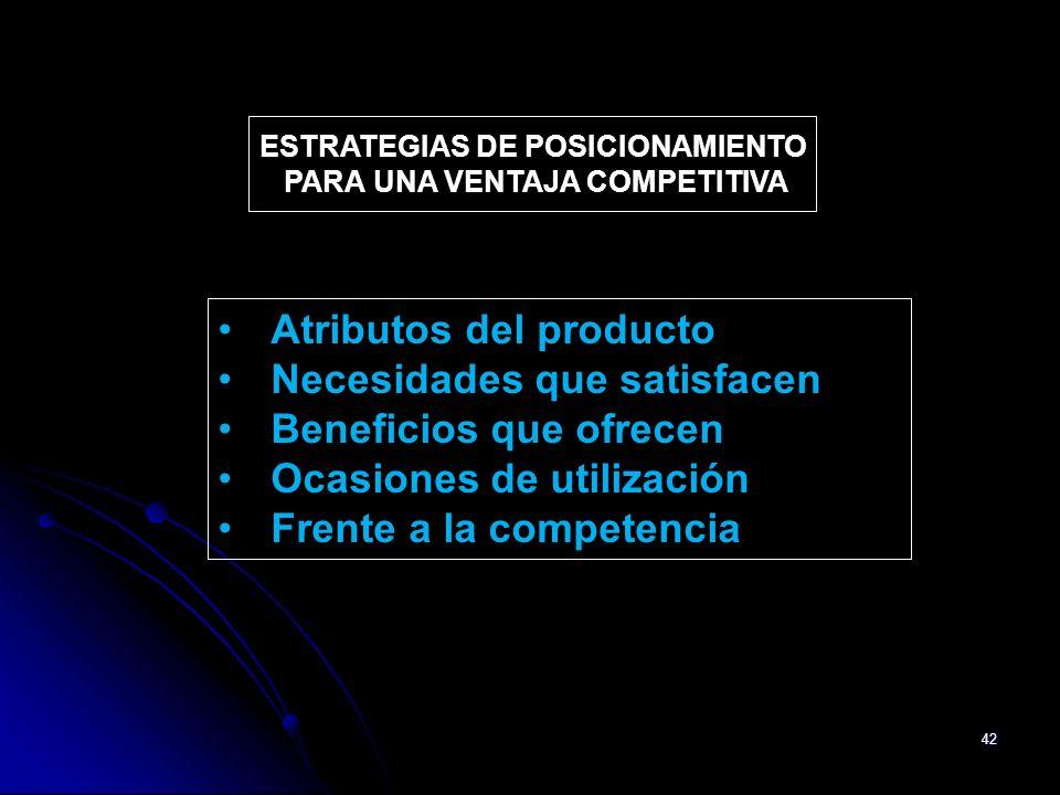 42 ESTRATEGIAS DE POSICIONAMIENTO PARA UNA VENTAJA COMPETITIVA Atributos del producto Necesidades que satisfacen Beneficios que ofrecen Ocasiones de u