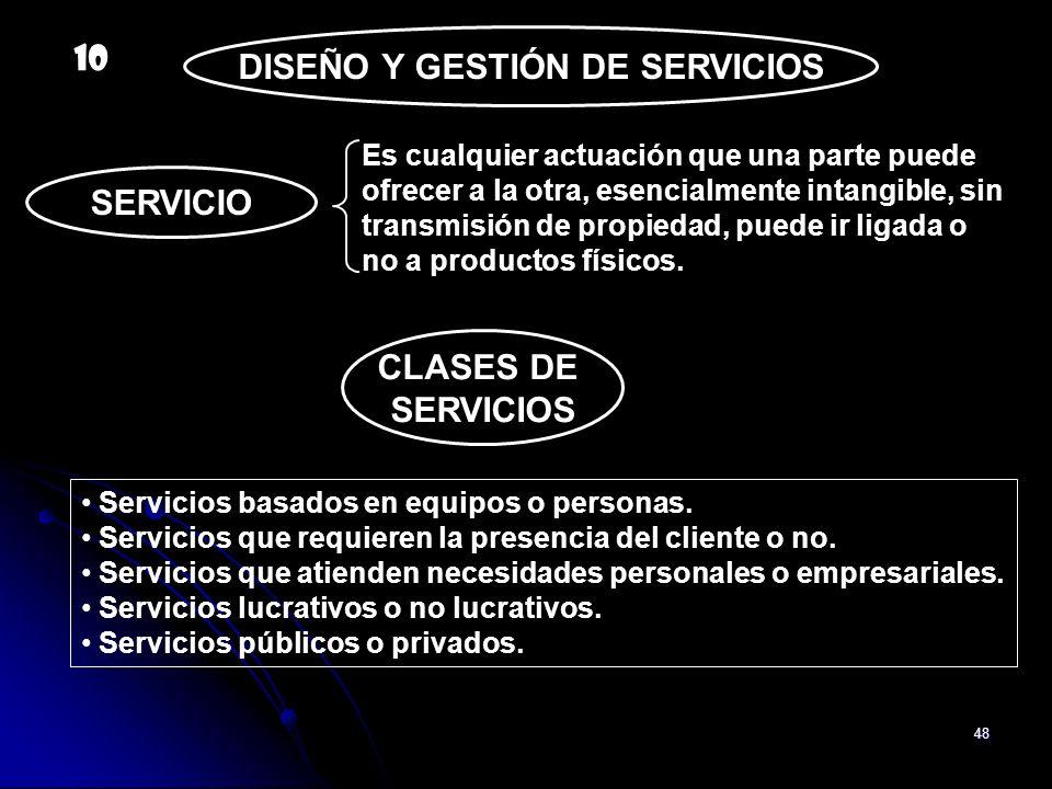 48 DISEÑO Y GESTIÓN DE SERVICIOS SERVICIO Es cualquier actuación que una parte puede ofrecer a la otra, esencialmente intangible, sin transmisión de p