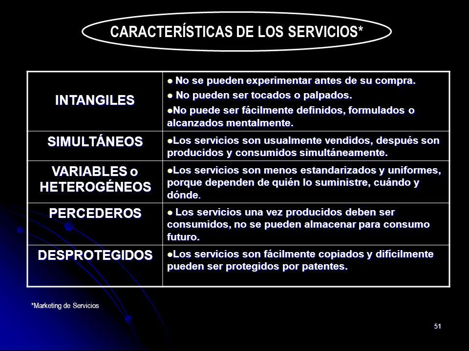 51 CARACTERÍSTICAS DE LOS SERVICIOS* INTANGILES No se pueden experimentar antes de su compra. No se pueden experimentar antes de su compra. No pueden