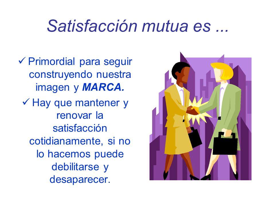 Satisfacción mutua es... Primordial para seguir construyendo nuestra imagen y MARCA. Hay que mantener y renovar la satisfacción cotidianamente, si no