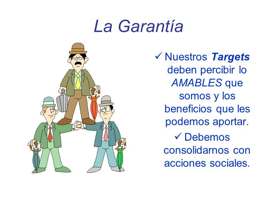 La Garantía Nuestros Targets deben percibir lo AMABLES que somos y los beneficios que les podemos aportar. Debemos consolidarnos con acciones sociales