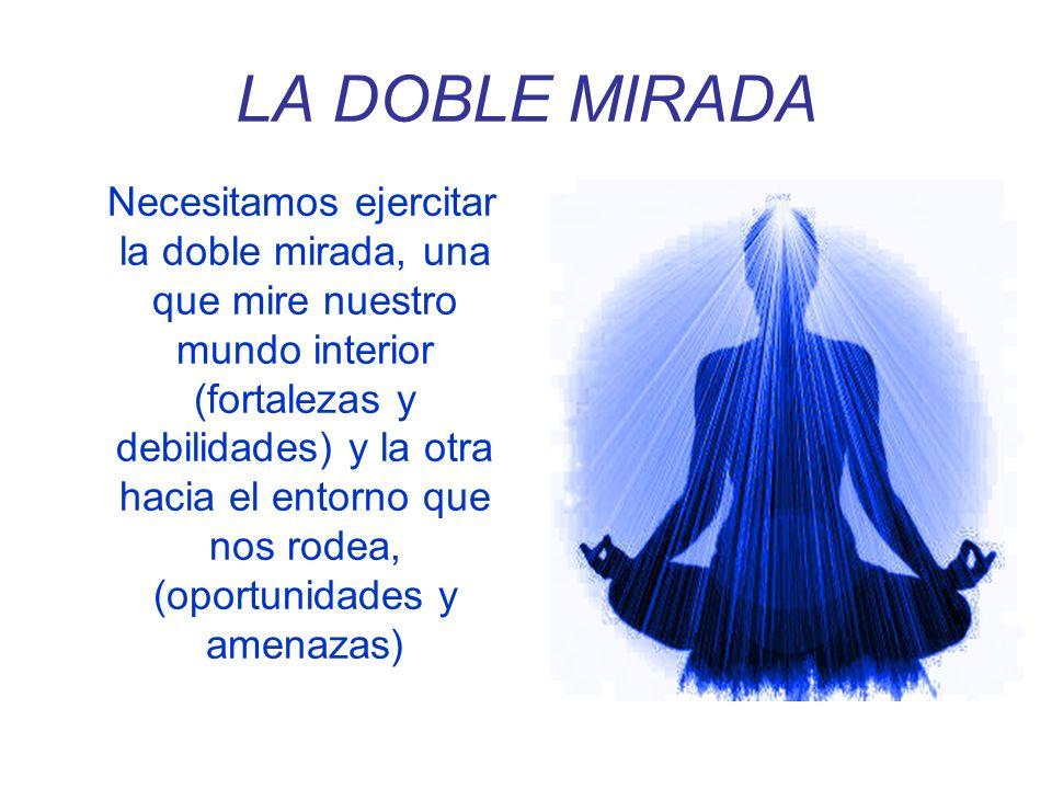 LA DOBLE MIRADA Necesitamos ejercitar la doble mirada, una que mire nuestro mundo interior (fortalezas y debilidades) y la otra hacia el entorno que n