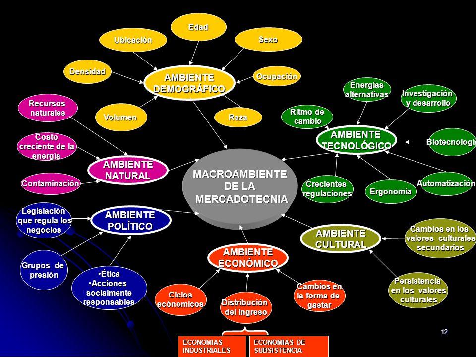 12 MACROAMBIENTE DE LA MERCADOTECNIA Legislación que regula los que regula losnegocios ÉticaÉtica AccionesAccionessocialmenteresponsables Grupos de pr