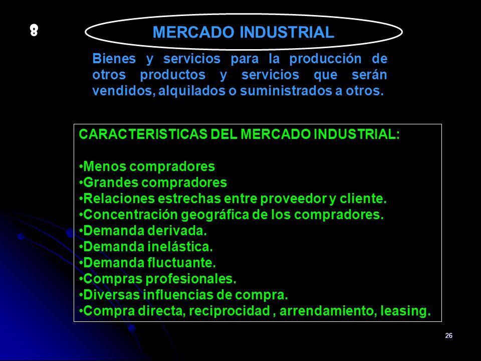 26 MERCADO INDUSTRIAL Bienes y servicios para la producción de otros productos y servicios que serán vendidos, alquilados o suministrados a otros. CAR