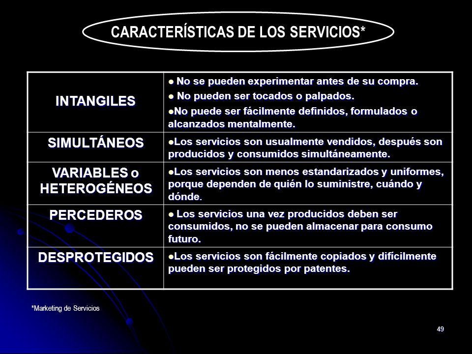 49 CARACTERÍSTICAS DE LOS SERVICIOS* INTANGILES No se pueden experimentar antes de su compra. No se pueden experimentar antes de su compra. No pueden