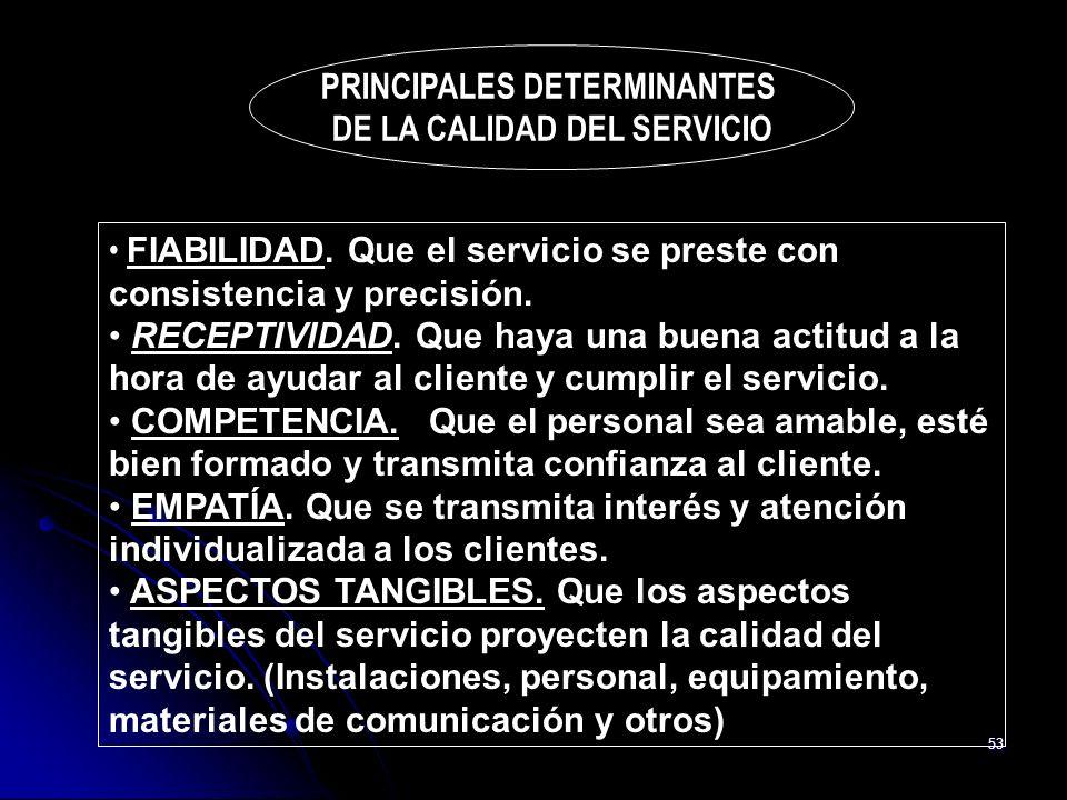 53 PRINCIPALES DETERMINANTES DE LA CALIDAD DEL SERVICIO FIABILIDAD. Que el servicio se preste con consistencia y precisión. RECEPTIVIDAD. Que haya una
