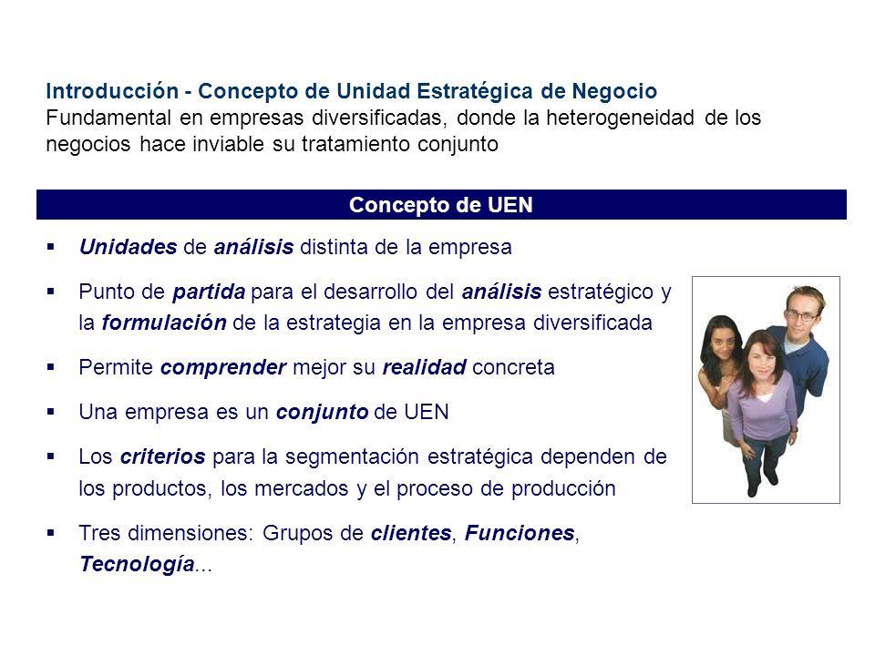 Introducción - Concepto de Unidad Estratégica de Negocio Fundamental en empresas diversificadas, donde la heterogeneidad de los negocios hace inviable