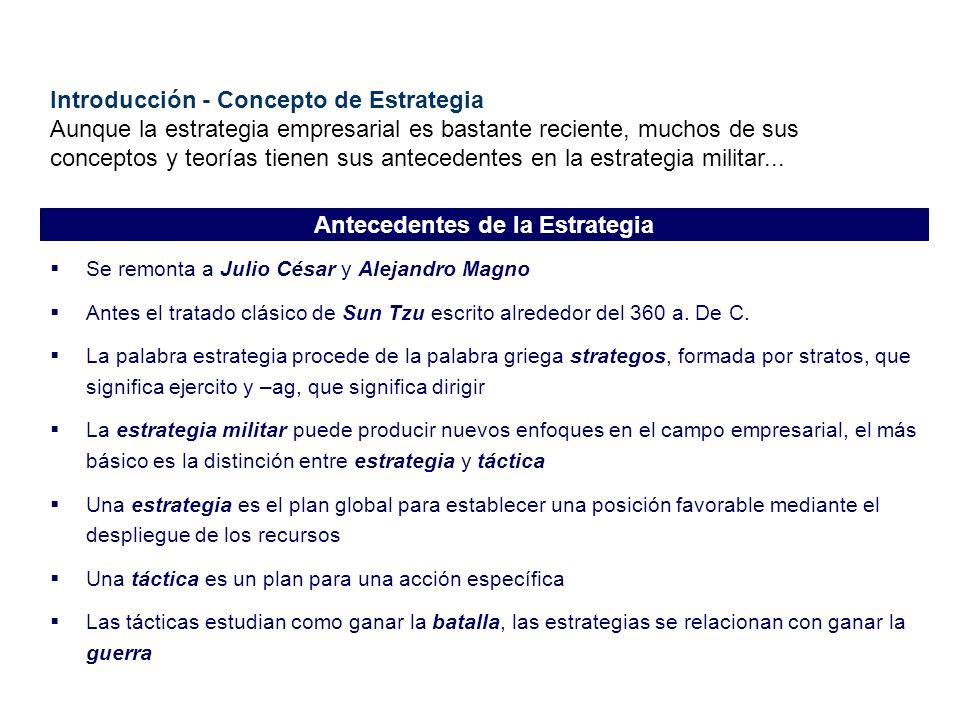 Introducción - Concepto de Estrategia Aunque la estrategia empresarial es bastante reciente, muchos de sus conceptos y teorías tienen sus antecedentes