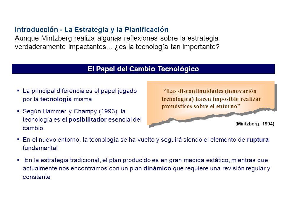 Las discontinuidades (innovación tecnológica) hacen imposible realizar pronósticos sobre el entorno (Mintzberg, 1994) La principal diferencia es el pa