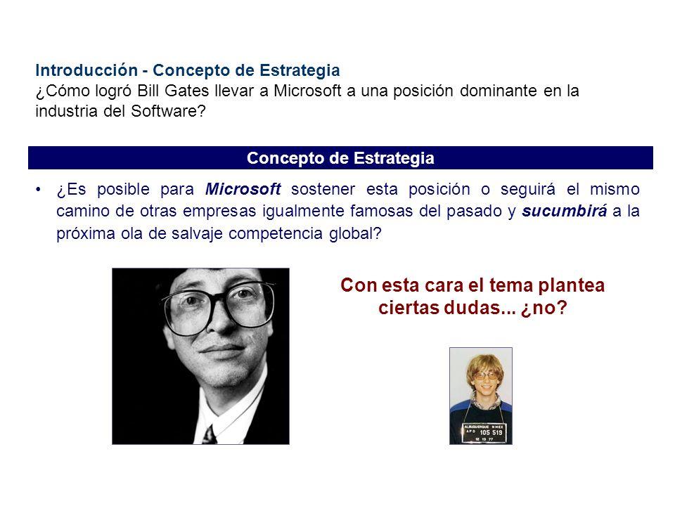 Introducción - Concepto de Estrategia ¿Cómo logró Bill Gates llevar a Microsoft a una posición dominante en la industria del Software? ¿Es posible par