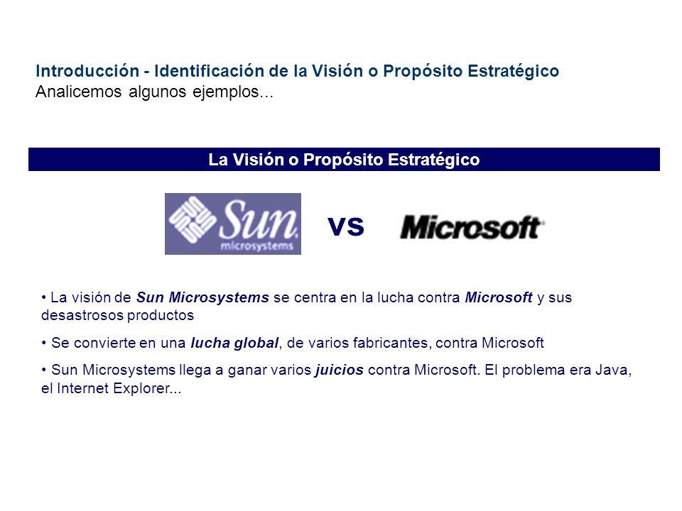 Introducción - Identificación de la Visión o Propósito Estratégico Analicemos algunos ejemplos... vs La visión de Sun Microsystems se centra en la luc