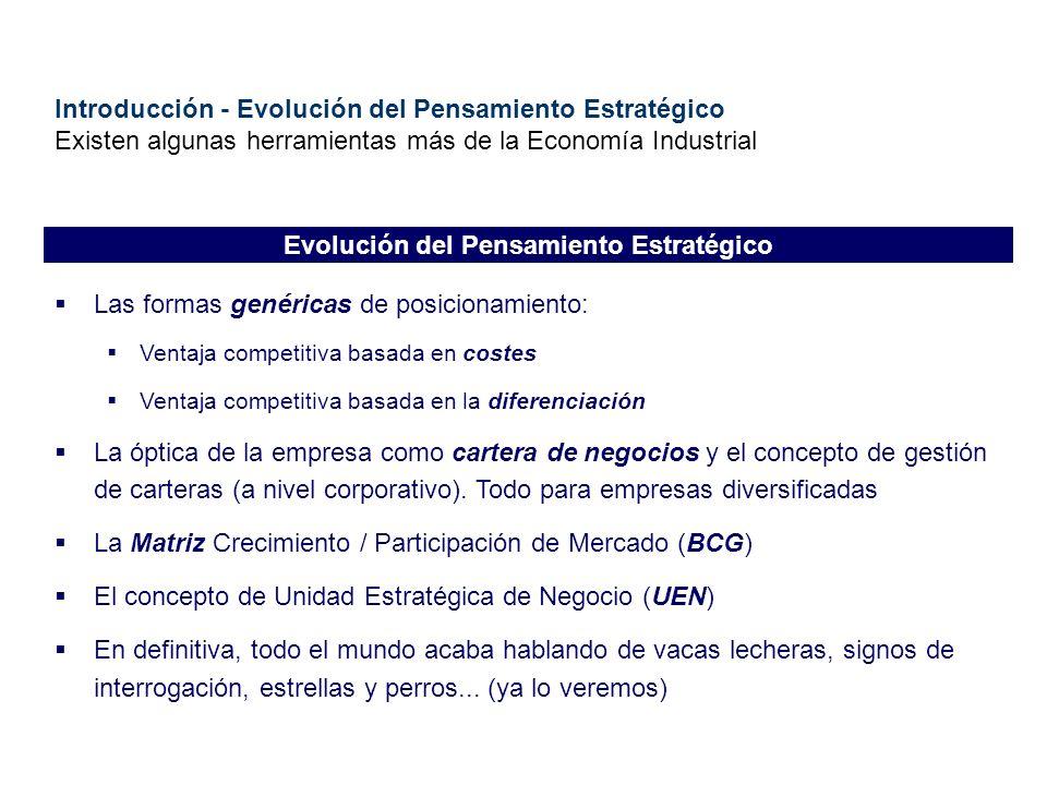 Introducción - Evolución del Pensamiento Estratégico Existen algunas herramientas más de la Economía Industrial Las formas genéricas de posicionamient