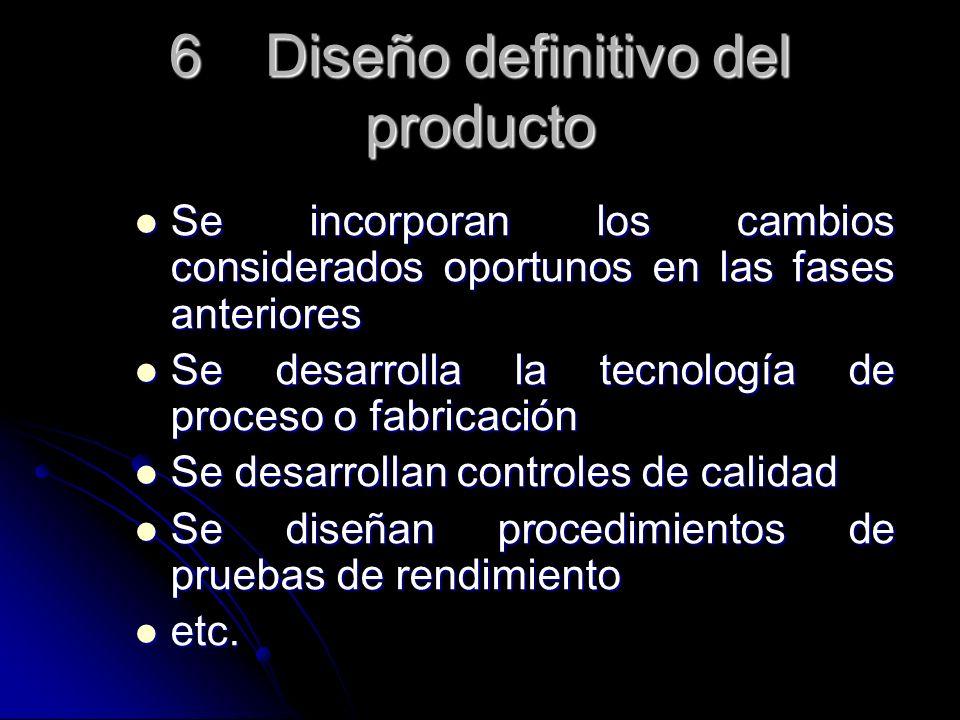 6Diseño definitivo del producto Se incorporan los cambios considerados oportunos en las fases anteriores Se incorporan los cambios considerados oportu