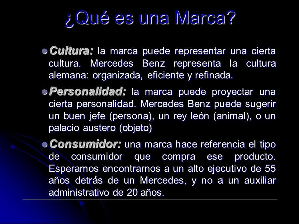 Cultura: la marca puede representar una cierta cultura. Mercedes Benz representa la cultura alemana: organizada, eficiente y refinada. Cultura: la mar