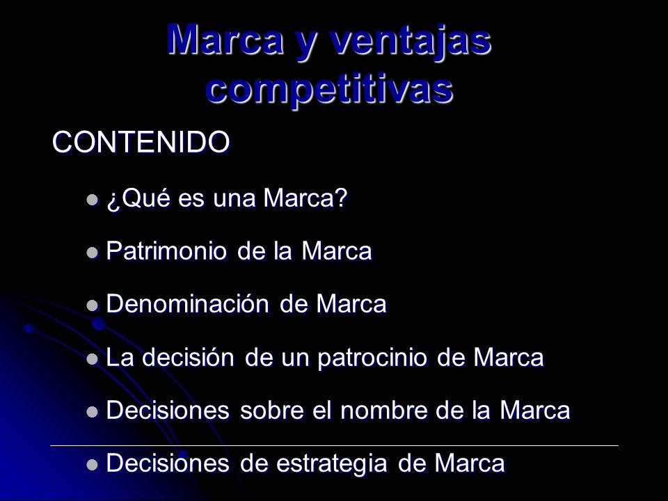 Marca y ventajas competitivas CONTENIDO ¿Qué es una Marca.