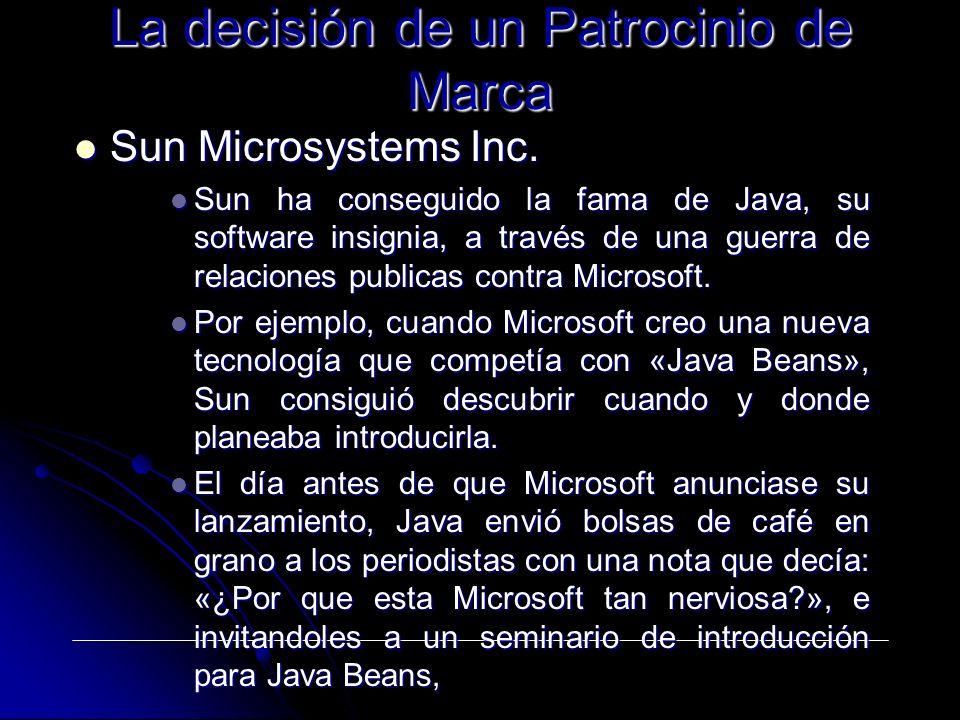 Sun Microsystems Inc. Sun Microsystems Inc. Sun ha conseguido la fama de Java, su software insignia, a través de una guerra de relaciones publicas con