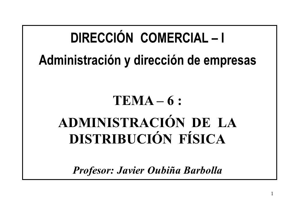 1 DIRECCIÓN COMERCIAL – I Administración y dirección de empresas TEMA – 6 : ADMINISTRACIÓN DE LA DISTRIBUCIÓN FÍSICA Profesor: Javier Oubiña Barbolla