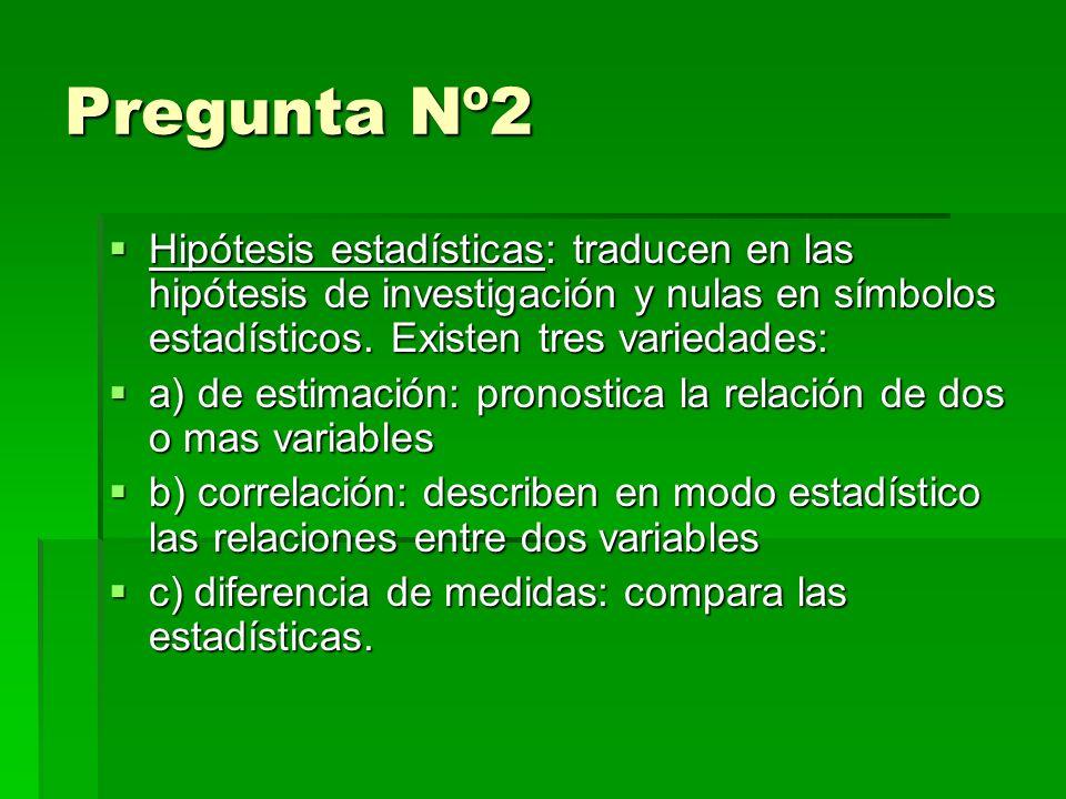 Pregunta Nº2 Hipótesis estadísticas: traducen en las hipótesis de investigación y nulas en símbolos estadísticos.