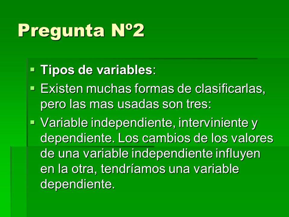 Pregunta Nº2 Tipos de variables: Tipos de variables: Existen muchas formas de clasificarlas, pero las mas usadas son tres: Existen muchas formas de clasificarlas, pero las mas usadas son tres: Variable independiente, interviniente y dependiente.