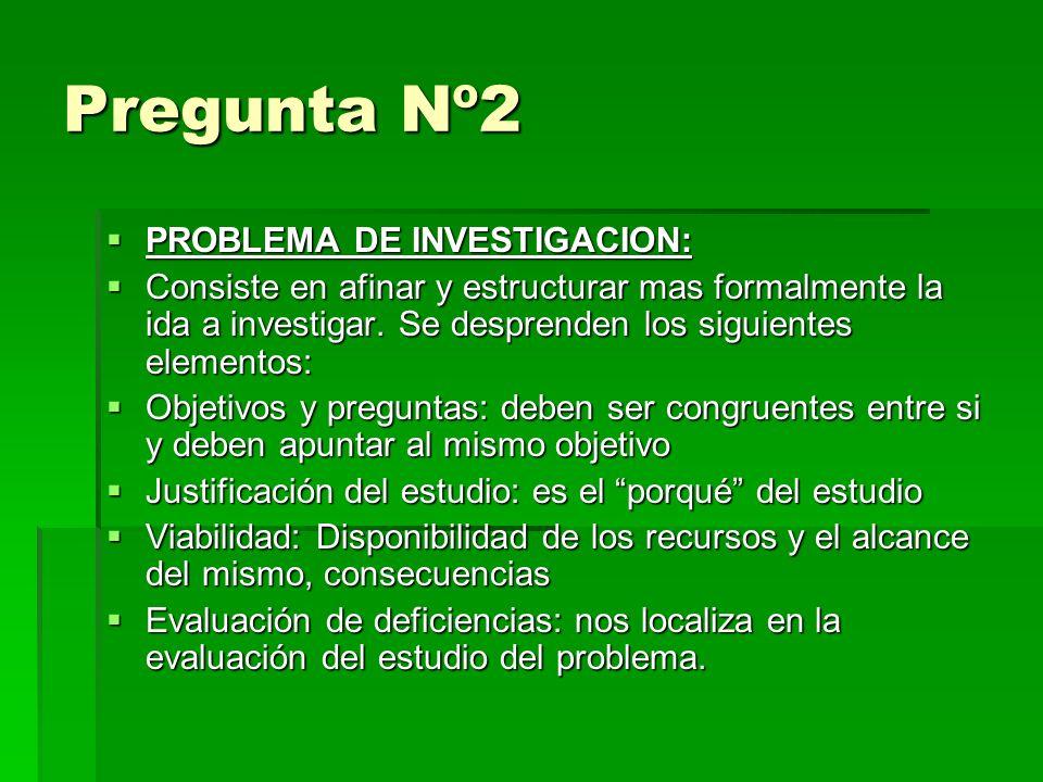 Pregunta Nº2 PROBLEMA DE INVESTIGACION: PROBLEMA DE INVESTIGACION: Consiste en afinar y estructurar mas formalmente la ida a investigar.