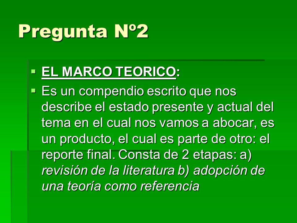 Pregunta Nº2 EL MARCO TEORICO: EL MARCO TEORICO: Es un compendio escrito que nos describe el estado presente y actual del tema en el cual nos vamos a abocar, es un producto, el cual es parte de otro: el reporte final.