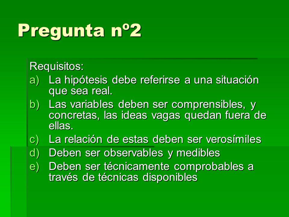 Pregunta nº2 Requisitos: a)La hipótesis debe referirse a una situación que sea real.
