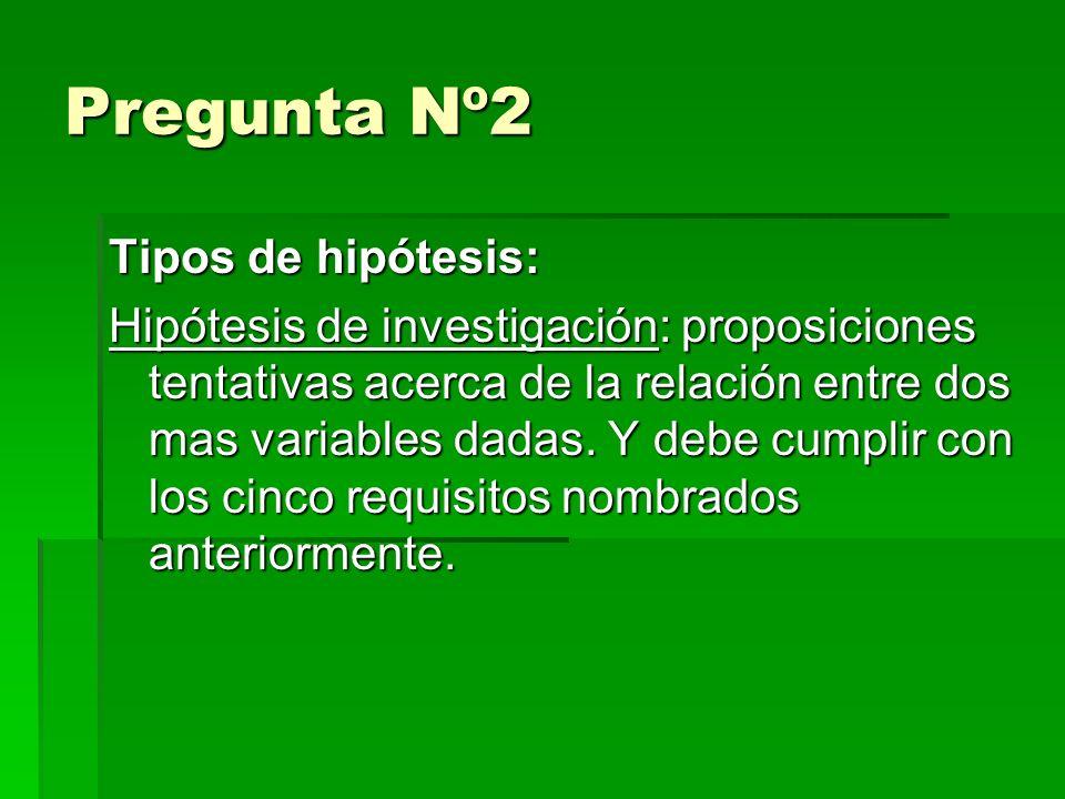 Pregunta Nº2 Tipos de hipótesis: Hipótesis de investigación: proposiciones tentativas acerca de la relación entre dos mas variables dadas.