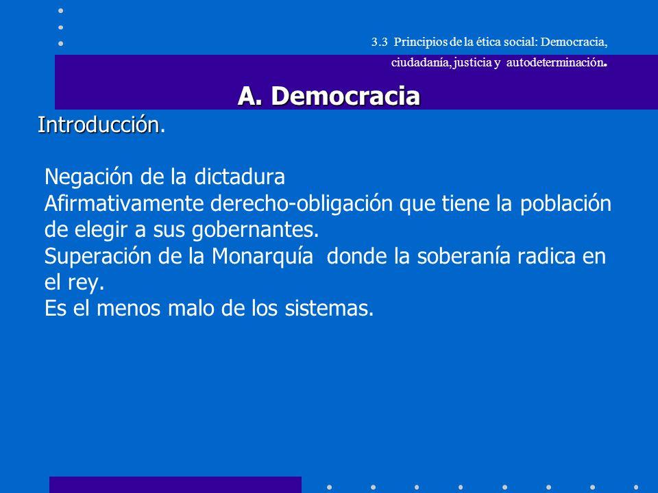 3.3.Principios de ética social: Democracia, ciudadanía, justicia y autodeterminación.