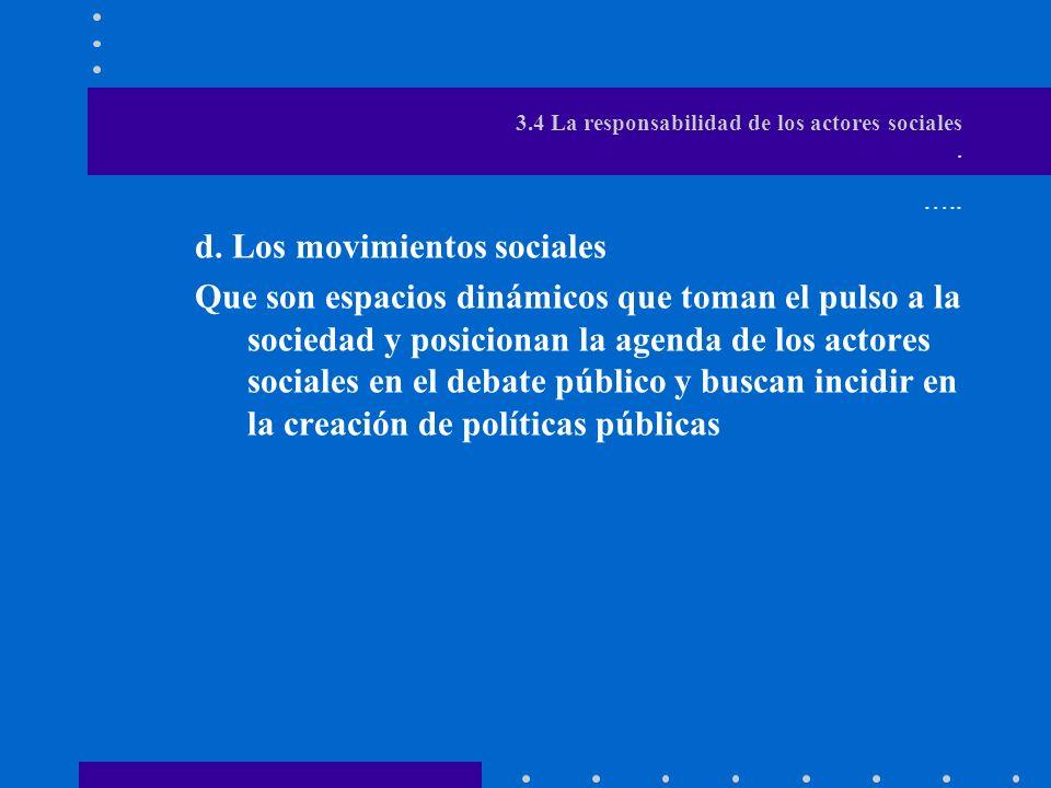 3.4 La responsabilidad de los actores sociales.…..