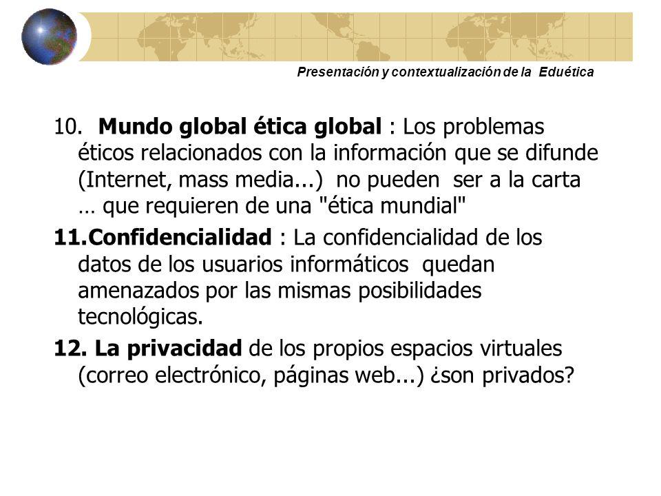 Presentación y contextualización de la Eduética 7. Acceso a la intimidad: Problemas de acceso a la intimidad, accesos no autorizados a la información