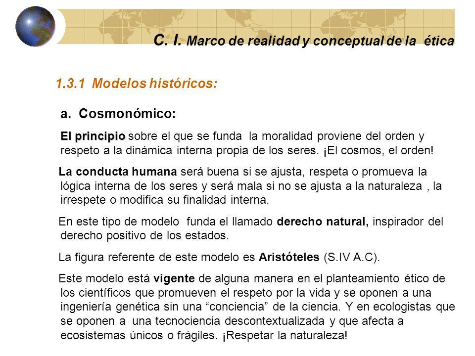 C. I. Marco de realidad y conceptual de la ética 1.3 Modelos históricos y contemporaneos de ética.