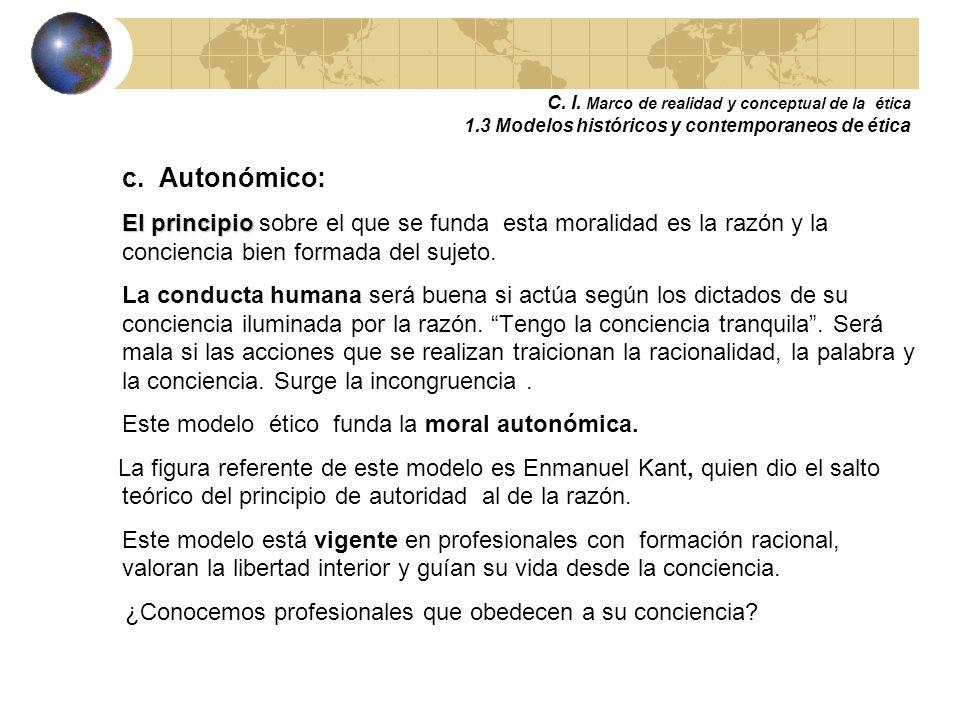 C. I. Marco de realidad y conceptual de la ética 1.3 Modelos históricos y contemporáneos de ética b. Teonómico y Heteronómico: El principio El princip