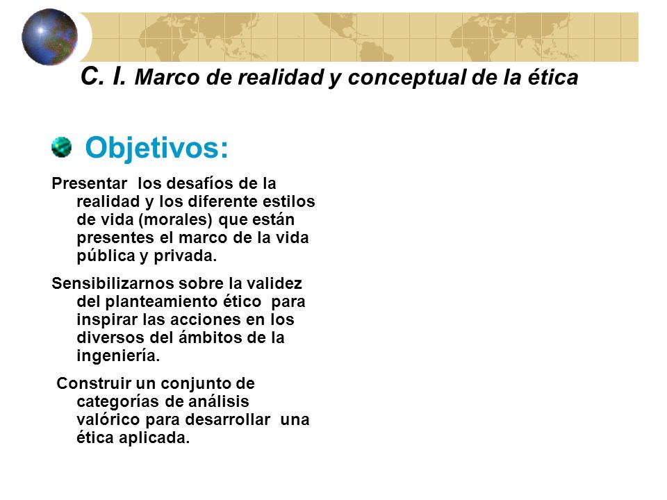 MARCO DE REALIDAD Y MARCO TEÓRICO DE LA ÉTICA CAPÍTULO I