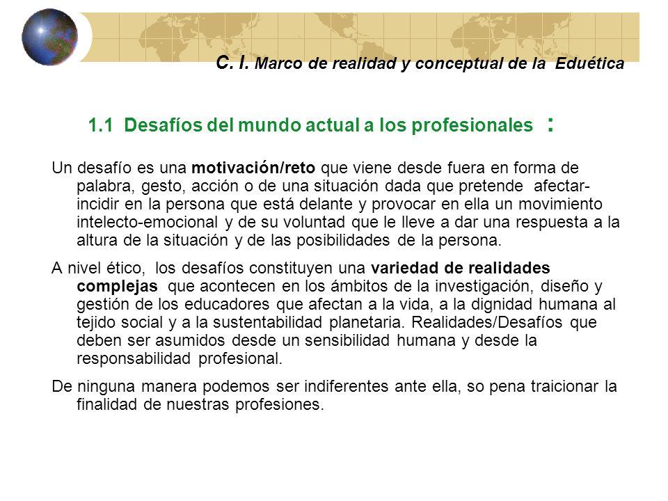 C. I. Marco de realidad y conceptual de la eduética La ética es la capacidad de dar respuesta a la realidad 1.1 Desafíos del mundo actual a los educad