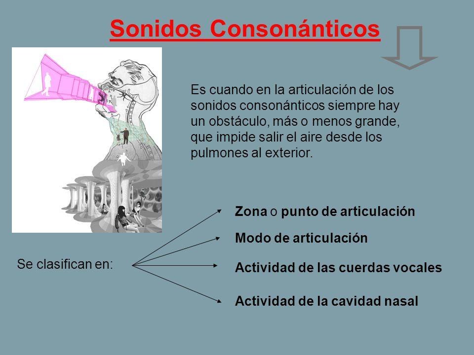 Sonidos Consonánticos Es cuando en la articulación de los sonidos consonánticos siempre hay un obstáculo, más o menos grande, que impide salir el aire